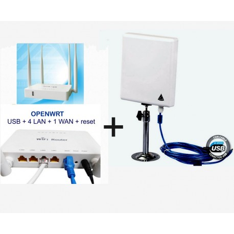 WiFi repeater router, how to add an Open-WRT router to a WiFi antenna with USB cable.