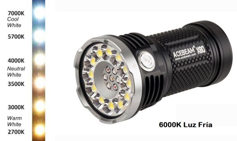 Linterna LED luz cálida fría