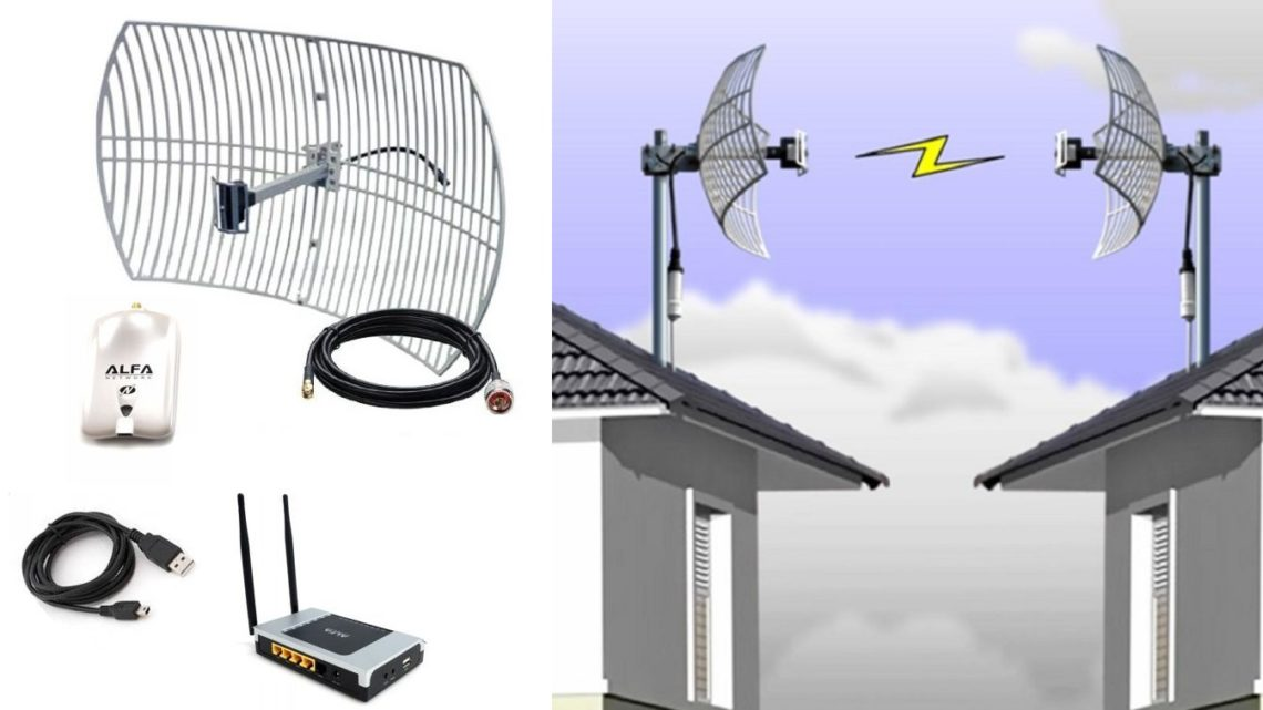 Mount a long-range home WiFi antenna with router